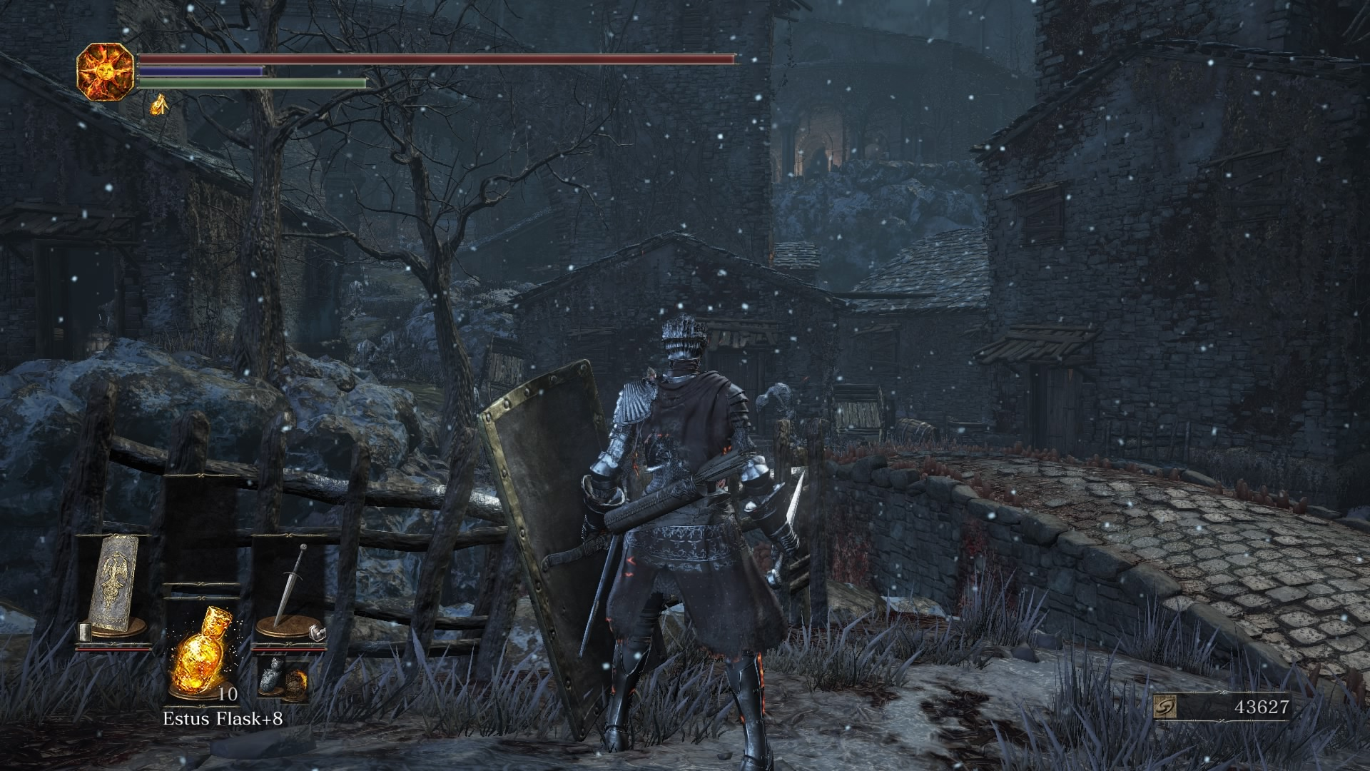 Cross the stone bridge in the Settlement and take the right path to reach a ladder to the rooftops.