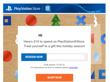 Sony is giving Playstation consumers a 10$ Giftcard for free!