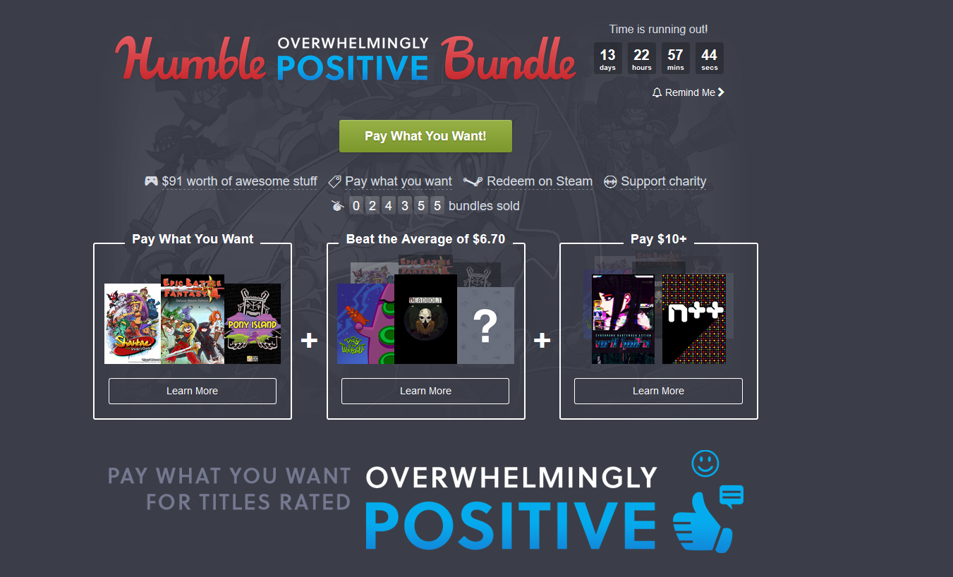 Humble Bundle Update: Check Out The Overwhelmingly Positive Humble Bundle