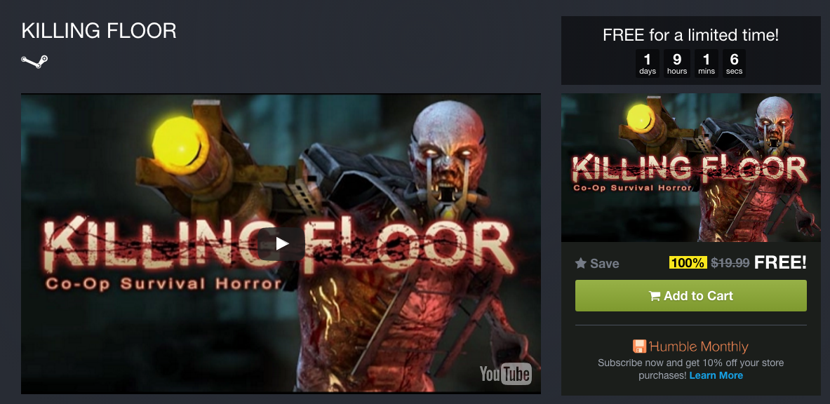 Daily Deal Killing Floor Is Free On Humble Bundle