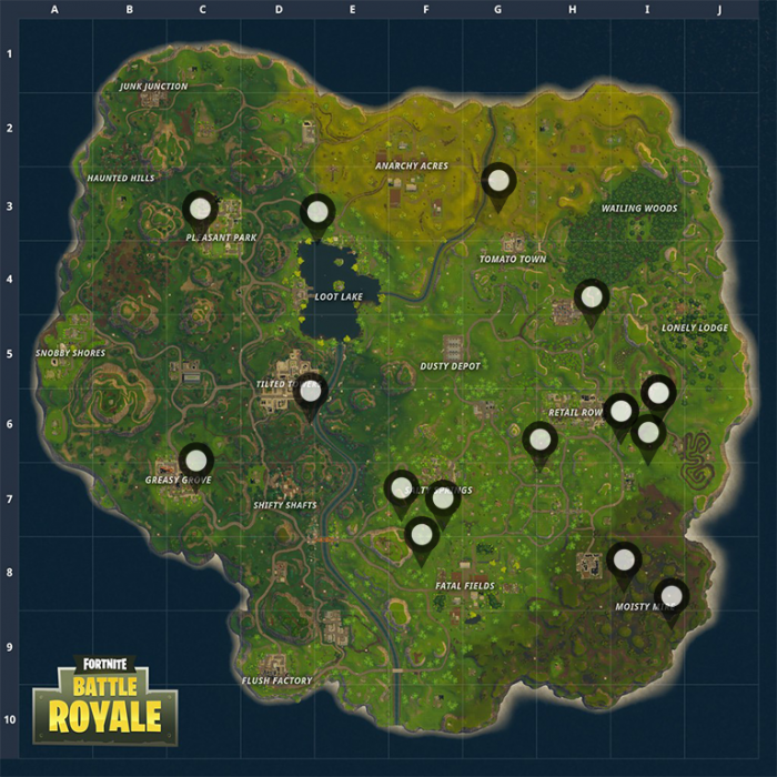 3 llamas will spawn so it s important to act fast if you re in one of these areas use the coordinates below and the description to help lead you in - fortnite llama spawns