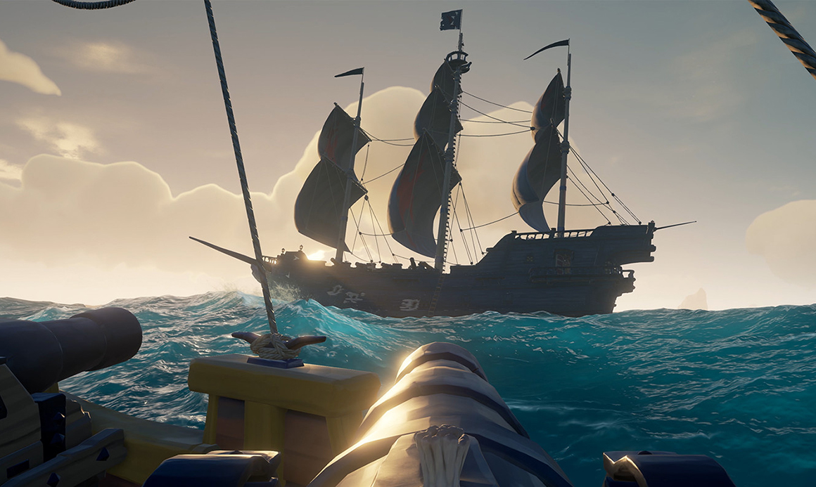 A galleon cannon aims at another galleon