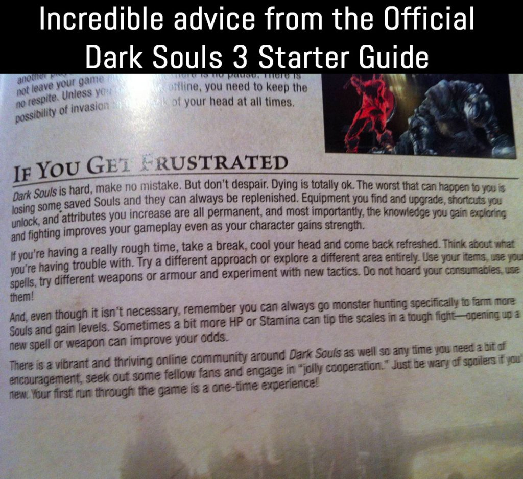 a page from the game guide talking about how to deal with being frustrated